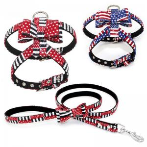 China Country Flags Pattern Baby Dog Harness Set Soft Fiber No Pull Easy Control on sale