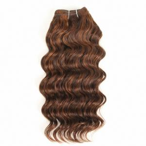 China Pre-Colored Deep Wave Brazilian Hair 100% Human Hair Bundles Remy Hair Weave P4/30 Piano Color on sale
