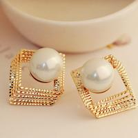 Luxury jewelry gold silver plated big pearl drop dangle earring for party and banque