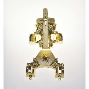 China Funeral Coffin Ornaments Star Design Casket Fitting 12# In Gold Finish on sale