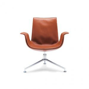 China FK Lounge Modern Classic Office Chair Low Back Leather Brushed Metal Foot Bucket on sale