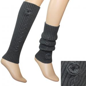 China 3.5 / 15.75 Inches White / Gray / Black Acrylic Knitted Leg Warmer Pattern For Women on sale