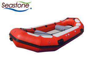 China 8 Person White Water Rafting Boat Red Low Profile Easily Maintained Hard Bottom on sale