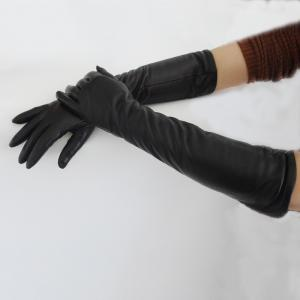 China Ladies Long Black Leather Gloves , Wool Lined Womens Designer Leather Gloves on sale