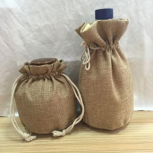 China Wine Round Bottom Pouch , Natural Jute / Hessian Bottle Bags Eco Friendly on sale