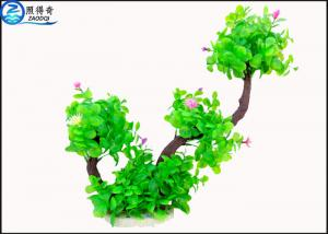 China Two Branch Plastic Tree Artificial Aquarium Plants With Small Flowers For Decoration on sale