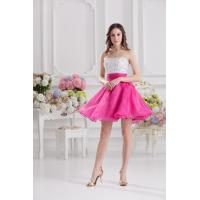 Hot Pink Beading Organza Strapless Womens Cocktail Party Dresses for Girls / Ladies