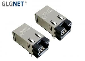 China Through Hole Power Over Ethernet Jack With Magnetics Shield EMI Tabs on sale