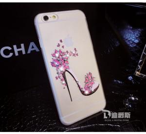 China Iphone 6 Transparent Color Painting Diamond Protective outer Case on sale