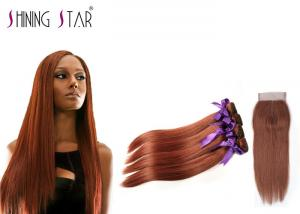 China #33 Colored Brown 4 Bundles No Synthetic Hair Mixed Human 100 Percent Human Hair Weaves on sale