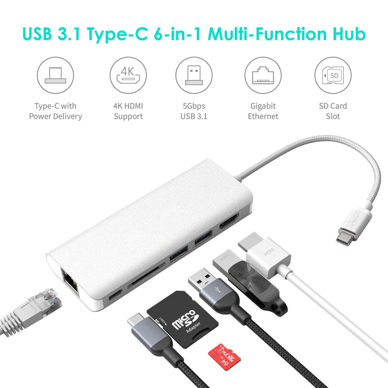 6 IN 1 USB Type-C Hub Adapter 4K HDMI RJ45 LAN Dock Station 5Gbps SD Card Reader