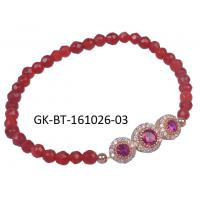 Fashion design agate beads bracelet, rose gold plated silver bracelet with red beads