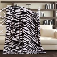 Queen size Stripes luxurious coral zebra print fleece blanket 130 * 170cm
