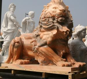 China Nature Stone carving lions statue pink marble animal sculpture,stone carving supplier on sale