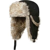 Strings Buckle Mens Russian Trapper Hat , Black / Grey Fur Mens Wool Hats For Winter