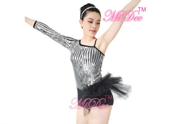 9a8955a45 Beautiful Sequins Jazz Tap Costumes Diagonal - Neck Biketard Dance Costume  Images