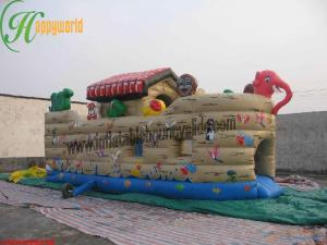 China Exciting  Inflatable Bouncy Slide / Bounce House With slides For Rent on sale