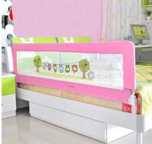 Pink Cartoon Plastic 1 8m Portable Bed Rails Mesh Toddler Rail