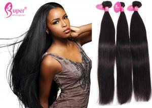 China Black Real Human Hair Extensions Swiss Lace Frontal 13 * 4 Pre Plucked Straight Weave on sale