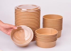 China Waterproof Disposable Paper Cups For Salad With Lids 16oz 26oz 32oz 40oz on sale