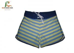China Waterproof Striped Womens Board Shorts Sublimated Surf Beach Wear With Zipper on sale