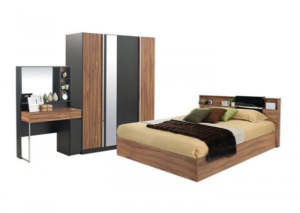 Walnut Wood Melamine Bedroom Furniture With 3 - Door Wardrobe And