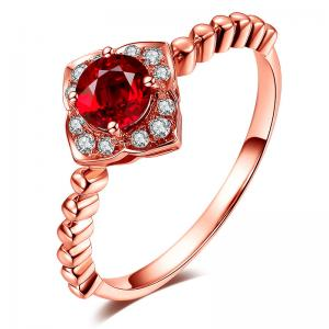 China Ladies 18k Gold Gemstone Rings Ruby And Diamond Ring White Gold  on sale