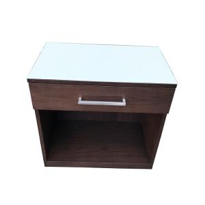 China White back painted tempered glass  top 1 drawer custom made  wooden hotel night stand on sale