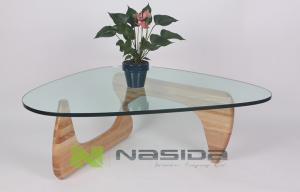 China Glossy Glass Replica Isamu Noguchi Coffee Table with Solid Wood Base , 12mm - 19mm on sale