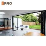 Black Color Aluminum Entrance Folding Glass Doors Heat Insulation glass door folding French folding door slide and fold