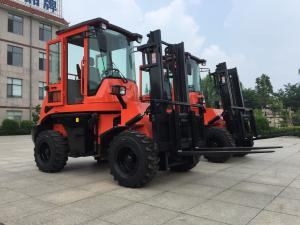 China 3 tons Rough Terrain Forklift Truck CPCY30 ,All Terrain Forklift 4x4 Forklift with Air condition, orange color on sale