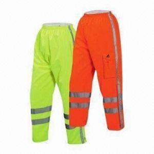China Los pantalones reflexivos de la seguridad, alta visibilidad, a prueba de viento e impermeable, respirable, PU cubrieron la tela on sale