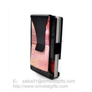 China Black Carbon Fiber Minimalist RFID Aluminum Wallet with Money Clip on sale