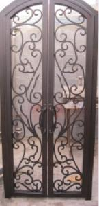 China Safety Wrought Iron Double Front Door wrought iron door inserts on sale