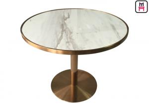 China Stainless Steel Rose Golden Commercial Restaurant Tables Luxury Marble Top Inset on sale