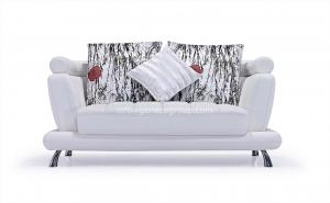 China Modern White Leather Sofa, Metal Legs, Fabric Pillows on sale
