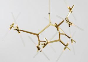 China Villa Project Luxury Gold Led chandelier Lights Aluminium pendant modern style on sale