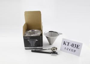 Quality Reusable Stainless Steel Coffee Filter Cone , Dual Layer Metal Coffee Dripper for sale