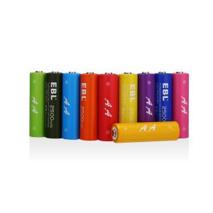 China AA 2500mAh 10 Pack Nimh Rechargeable Batteries Rainbow with Battery Case on sale