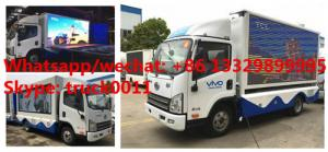 China Euro 5 FAW mobile digital LED billboard advertising truck for sale, high quality customized FAW P8 LED adverising truck on sale
