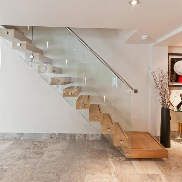 Wooden Stair Glass Staircase / Build Floating Stair Images