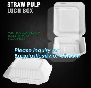 China straw pulp lunch box,eco-friendly PLA tableware,dinnerware set,healthy tableware,containers packaging bagasse clamshell on sale