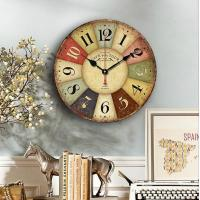 Multi Color Arabic Numeral Wall Time Clock Farmhouse Wood Carving Rustic Mdf Wall Clock
