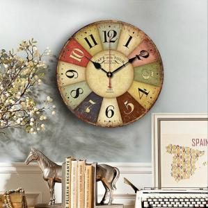 China Multi Color Arabic Numeral Wall Time Clock Farmhouse Wood Carving Rustic Mdf Wall Clock on sale