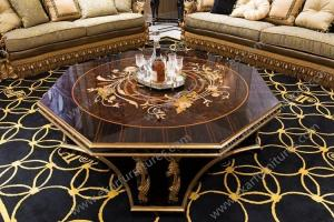 China Luxury Royal Antique Gold Square Wooden Shenzhen hand carved Coffee Tables AT-301 on sale