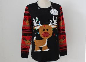 China OEM Unisex Embroidery Knitting Ladies Ugly Christmas Sweater With LED Lights on sale