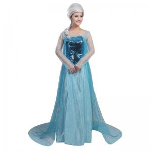 China Princess Dress Wholesale Blue Satin Yarn Sequin cloth Custom made Princess Elsa Blue Dress Cosplay For Party on sale