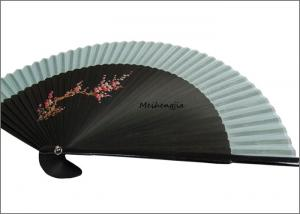 China 8.66 Slap Up Black Hand Held Folding Fans Ligh Blue Fabric Traditional Style on sale