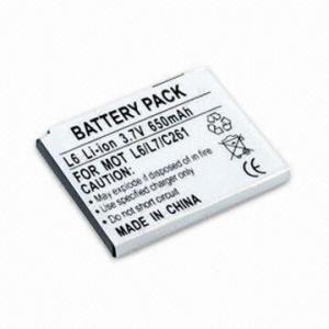 China paquet rechargeable de batterie de Li-ion de 3.6V 650mAh, pour Motorola L6/L7/L2/C261, avec l'excellente sécurité on sale