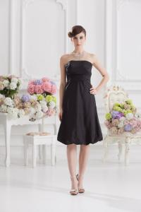 China Black Taffeta Plus Size Cocktail Party Dresses with Strapless A Line Design on sale